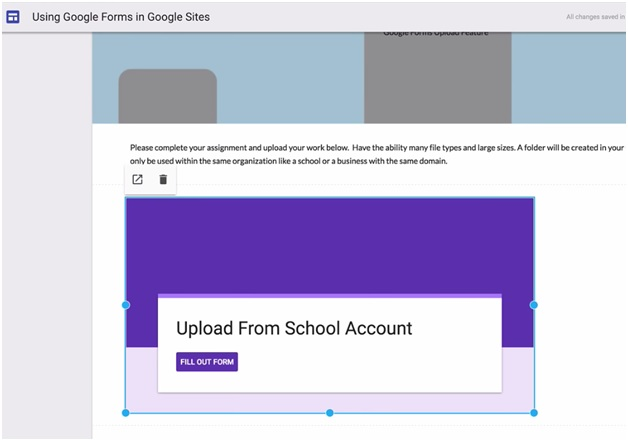 google forms in google sites image