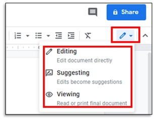 track changes in google docs using suggest edits