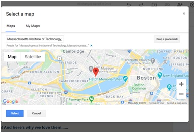 insert map option in google sites