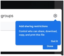 sharing restrictions in google sites