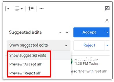 suggested edits box in google docs