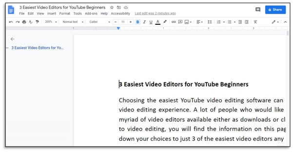view changes to google docs file