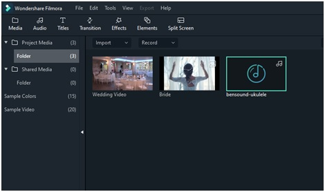 working with audio in filmora x screenshot
