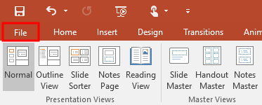 MS PowerPoint File Option
