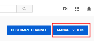 YouTube Manage Videos