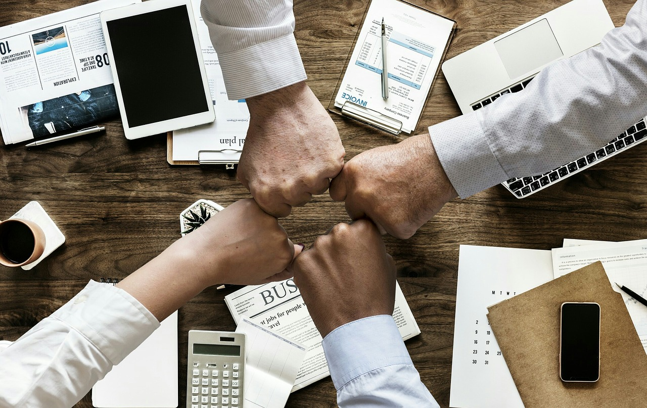 team cooperation combined hands during work