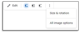 all image options in google docs
