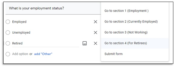 choosing section in dropdown box of google forms