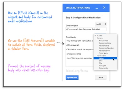 email notifications add on for google forms