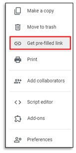 get pre filled link in google from survey