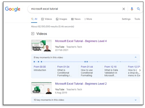 microsoft excel tutorial search query in google search engine