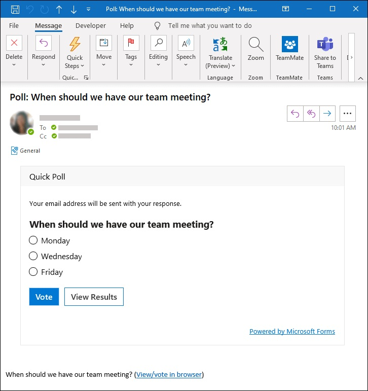 how voting poll works in microsoft outlook