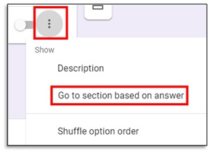 go to section based on answer screenshot