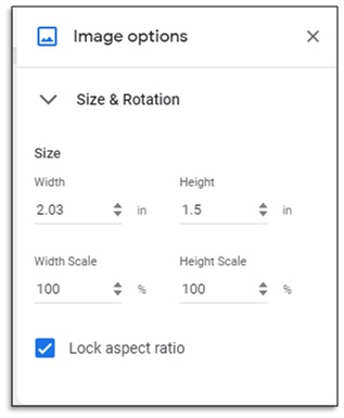 size & rotation of image in advance editing options