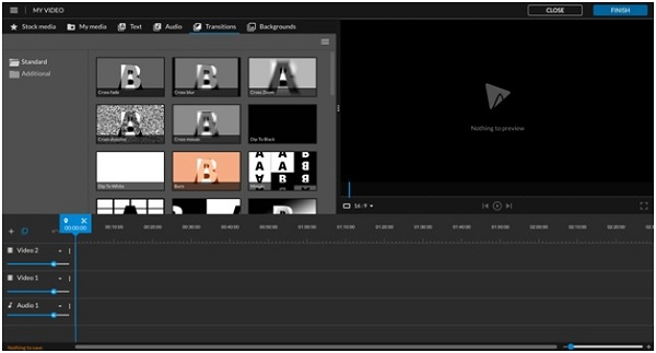 adding transitions in wevideo screenshot