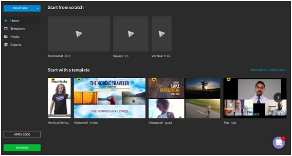 wevideo content creation main page screenshot