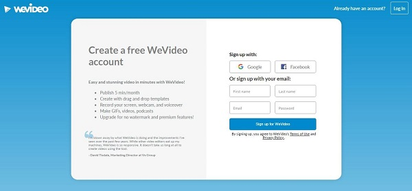 wevideo sign up main page screenshot