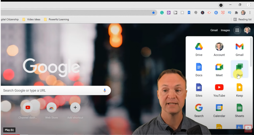 Opening Google Chat