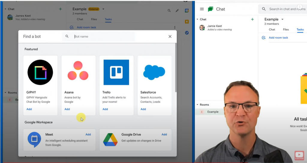 Using Bots in the Google Chat Room