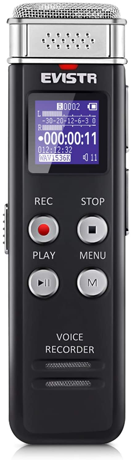 evistr 16gb digital voice recorder isolated on white background