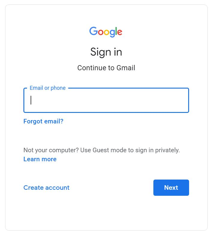 gmail sign in page screenshot