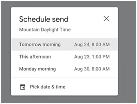 schedule send date and time options screenshot